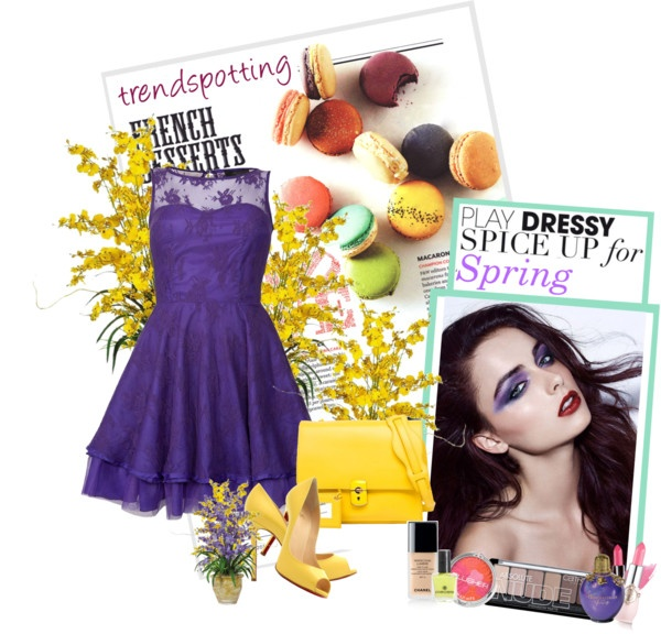 """""""purple dress with yellow"""" by homeyyomey on Polyvore"""
