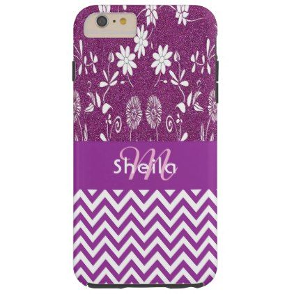 Girly purple chevron zigzag and flowers glitter tough iPhone 6 plus case - patterns pattern special unique design gift idea diy