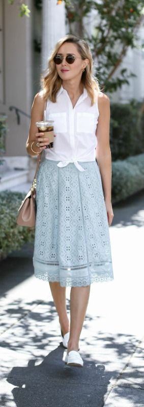 mint eyelet midi skirt, sleeveless tie front button down, white penny loafers, nude satchel + round sunglasses {ranna gill, calvin klein, dolce&gabbana, wonderland}