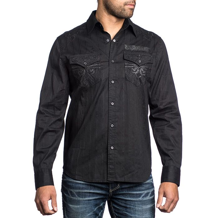 Men's Affliction Prime Suspect Woven Shirt | MMA shop - clothing and equipment for Martial Arts | Affliction