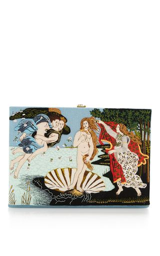 This limited edition clutch by **Olympia Le-Tan** is hand made and features the iconic book shape and design. Presenting the Fall Winter 16 collection which calls upon the designers favorite artists, from Andy Warhol to David Hockney and Sandro Botticelli.The cover is hand embroidered and detailed with felt on a cotton canvas body with a designer-stamped brass metal frame.