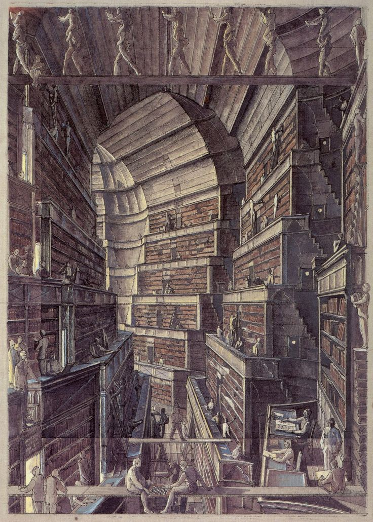 Érik Desmazières - Illustrations for Borges' story of the infinite library