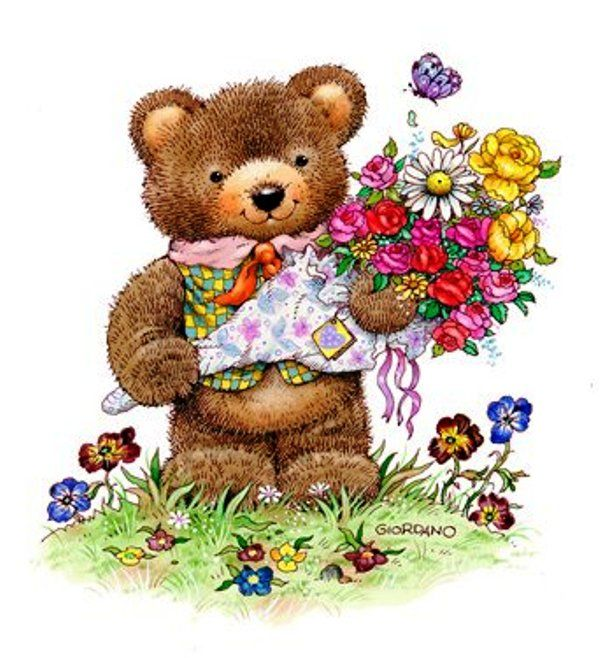 Красивые открытки мишка, послать поздравительную открытку