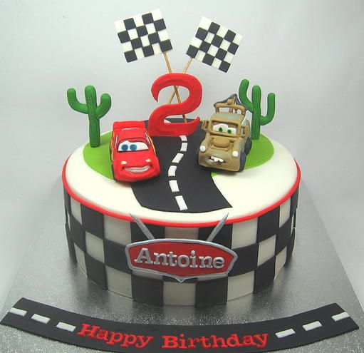 Cars Lightning McQueen and Mater Boys 2nd Birthday cake  by www.carryscakes.com.au