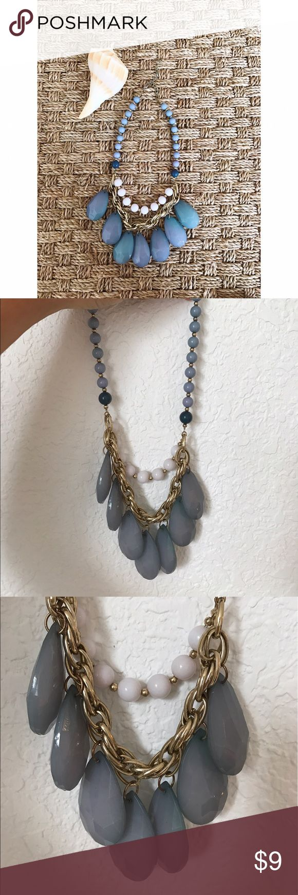 Large blue statement necklace 🌀 Large blue statement necklace. Great for summer! For the life of me I can't remember where I bought it, but I'm pretty sure it was either Lia Sophia or J.Crew. I've lowered the price because of my uncertainty. It has some wear, but in great condition. Please let me know if you have any questions! Lia Sophia Jewelry Necklaces