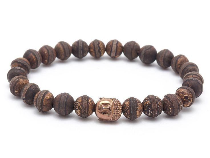 Mens Armbands – Bracelet mala stone agate tibetan hematite buddha – a unique product by Blackif on DaWanda