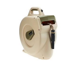 HydroHose Retractable Automatic Hose Reel with 50ft Flat Hose - Pretty cool!
