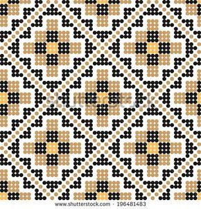 Seamless pattern with a sample of Ukrainian Embroidery or beads. Vector illustra…