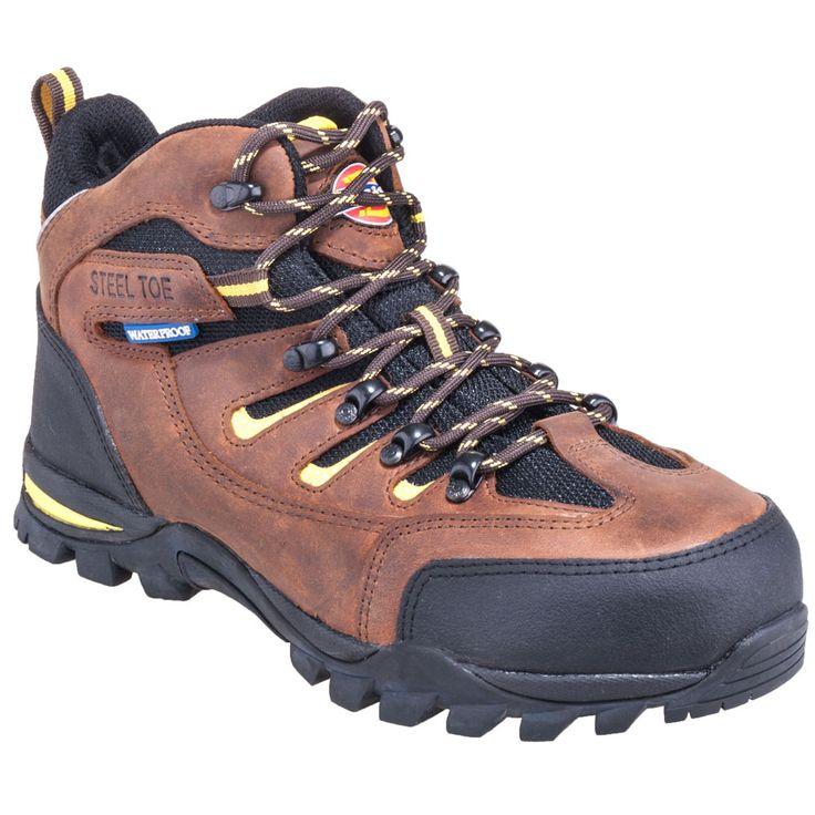 Dickies Boots Men's DW6524 Brown EH Waterproof Steel Toe Hiking Boots