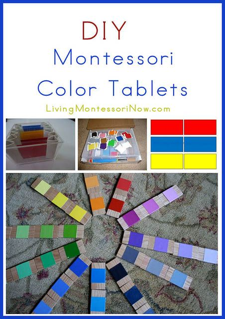 I've been focusing on DIY Montessori materials the last few Mondays. First it was smelling bottles, then sound cylinders, and now color tablets.