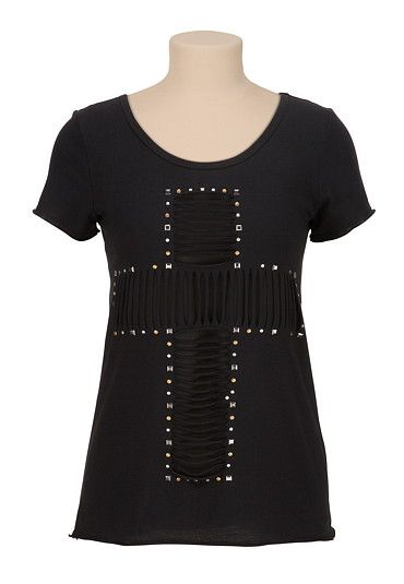 Stud embellished slashed cross tee (original price, $29) available at #Maurices