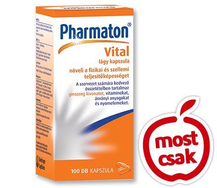 A Pharmaton Vital multivitamin készítmény a benne lévő ginzeng G115-nek köszönhetően növeli  a szellemi teljesítőképességet, a benne lévő vitaminok, nyomelemek és ásványi anyagok pedig  javítják a fizikai kondíciót. Vény nélkül kapható gyógyszer: A kockázatokról és a mellékhatásokról olvassa el a betegtájékoztatót, vagy kérdezze meg kezelőorvosát, gyógyszerészét! EP kártyára kapható. Akciós ár: 7499 Ft