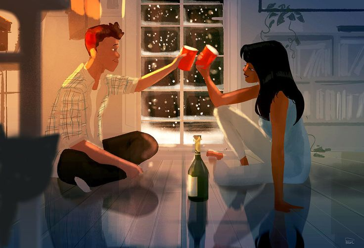 Ilustración de una pareja sentados en el suelo bebiendo vino