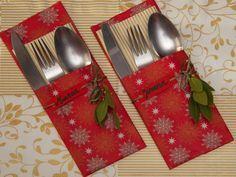 Como hacer porta cubiertos para decorar la mesa en Navidad