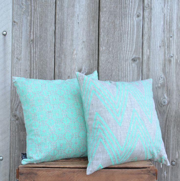 SALE Mint moroccon chevron cushion covers
