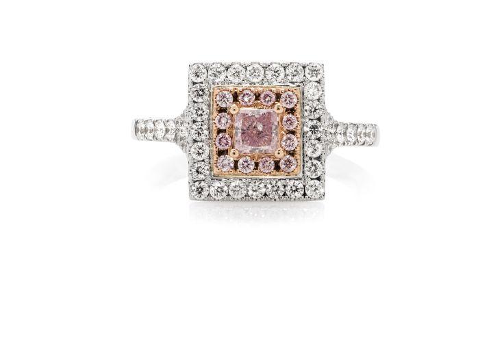 Princess Cut Argyle Pink Diamond Double Halo Ring
