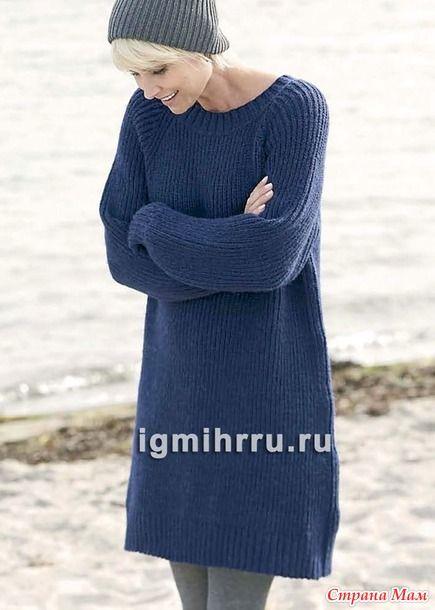 Теплое платье-туника, связанное полупатентной резинкой