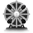 MASTERPIECES COLLECTION Liberty Ring White gold, white diamonds, onyx, pearl Diam. 40mm Hight 20mm  www.sybaritejewellery.com
