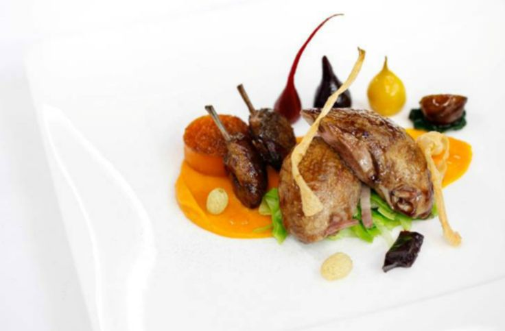 Roasted quail, butternut squash; braised red cabbage and cinnamon recipe by professional chef Gary Jones