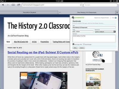 Nice article about integrating Evernote in an iPad 1:1 environment.  Thx for sharing @trevhope