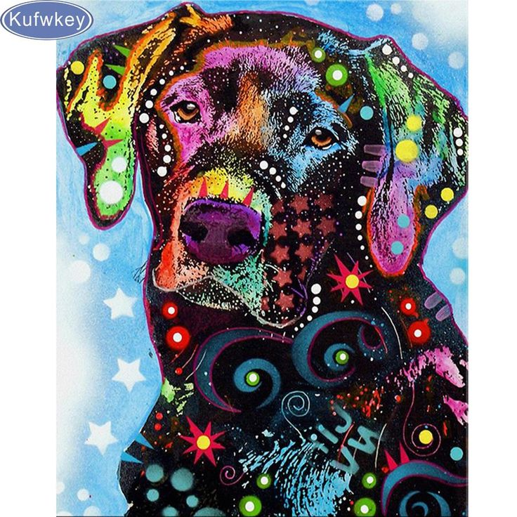 5D Diamond Painting Abstract Lab Kit dog chalk art in