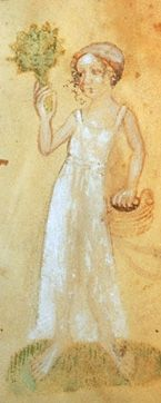 A bathing woman in underwear. Bohemian, late 14th or early 15th century    From Codices vindobonenses 2759-2764 in the Osterreichischen Nationalbibliothek, in Vienna, Austria