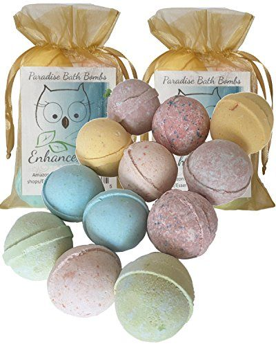 "12 Enhance Me Bath Bombs, Wholesale Double Paradise Gift Set- Handmade with Shea Butter and Organic Sustainable Palm Oil, ""See, Smell and See The Difference"" ** Review more details @"