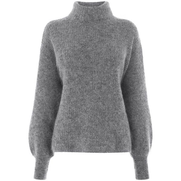 Warehouse Warehouse Bell Sleeve Mohair Jumper Size S found on Polyvore featuring tops, sweaters, jumpers, sweatshirt, dark grey, warehouse tops, bell sleeve sweater, mohair jumper, flared sleeve top and mohair sweater