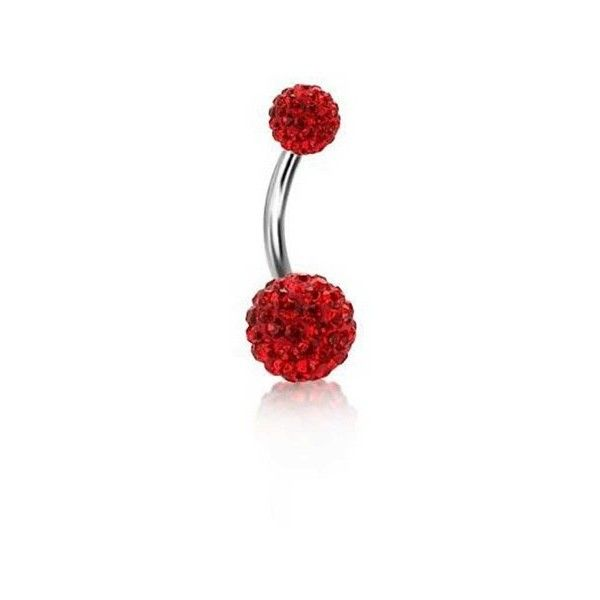 Bling Jewelry Shamballa Inspired Garnet Color Crystal Ball Navel Ring... ($13) ❤ liked on Polyvore featuring jewelry, piercings, rings, red, clear crystal jewelry, body jewelry, crystal ball jewelry, red garnet jewelry and garnet jewellery