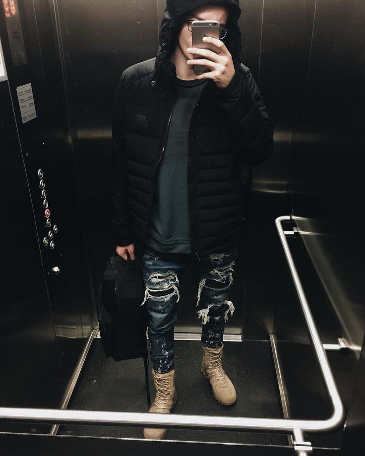  WINTER   #ottd #men #desert #boots #streetwear #boy #outfit #vsco #vscocam #winter #jeans #cozy #washed #out