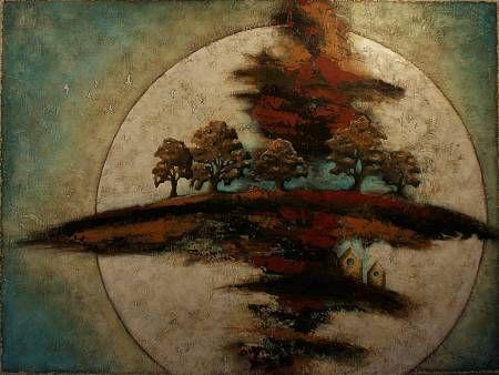 Harvest Moon - Techniques mixtes sur toile 91 x 122 cm (36 x 48 pouces)