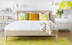 Bedroom Furniture - Beds, Mattresses & Inspiration - IKEA I really like the yellow, not sure if it's what I'm going for. I like the Sveio chest with 2 drawers ($150) with the open bookshelf on the opposite side. Good use of space, without worrying about perfect symmetry.