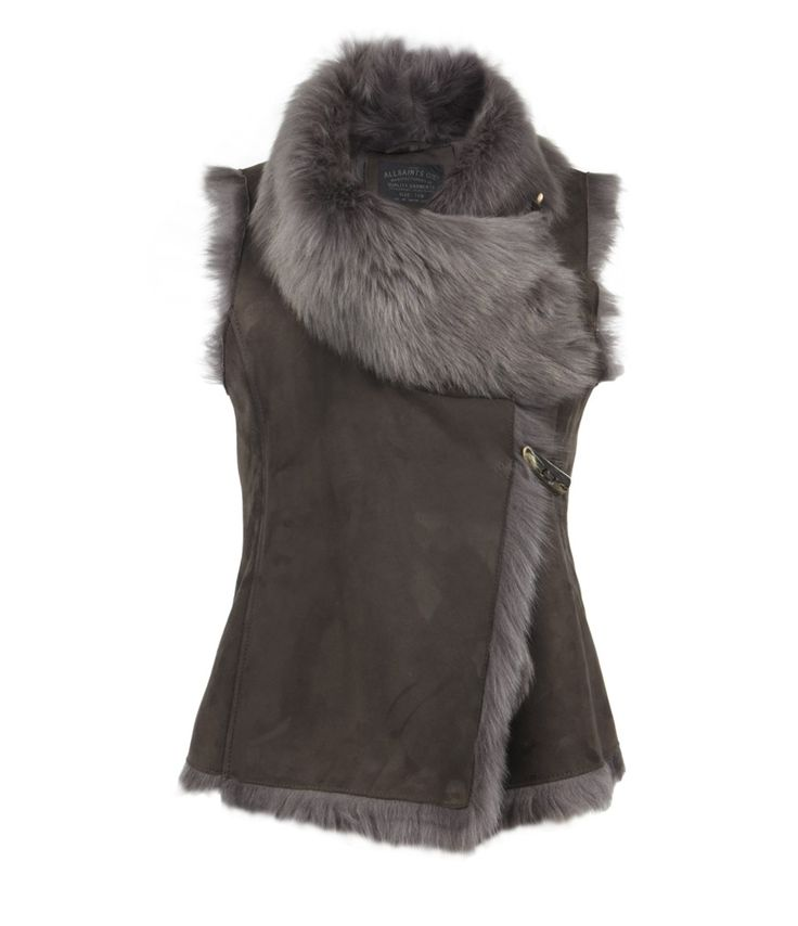 Luxurious Italian made long wool shearling gilet with slim fitting silhouette and cowl detail at the neckline when the garment is fastened and a draped effect when worn open. The Pelt gilet fastens with signature AllSaints horn toggle fastenings and horn branded button.