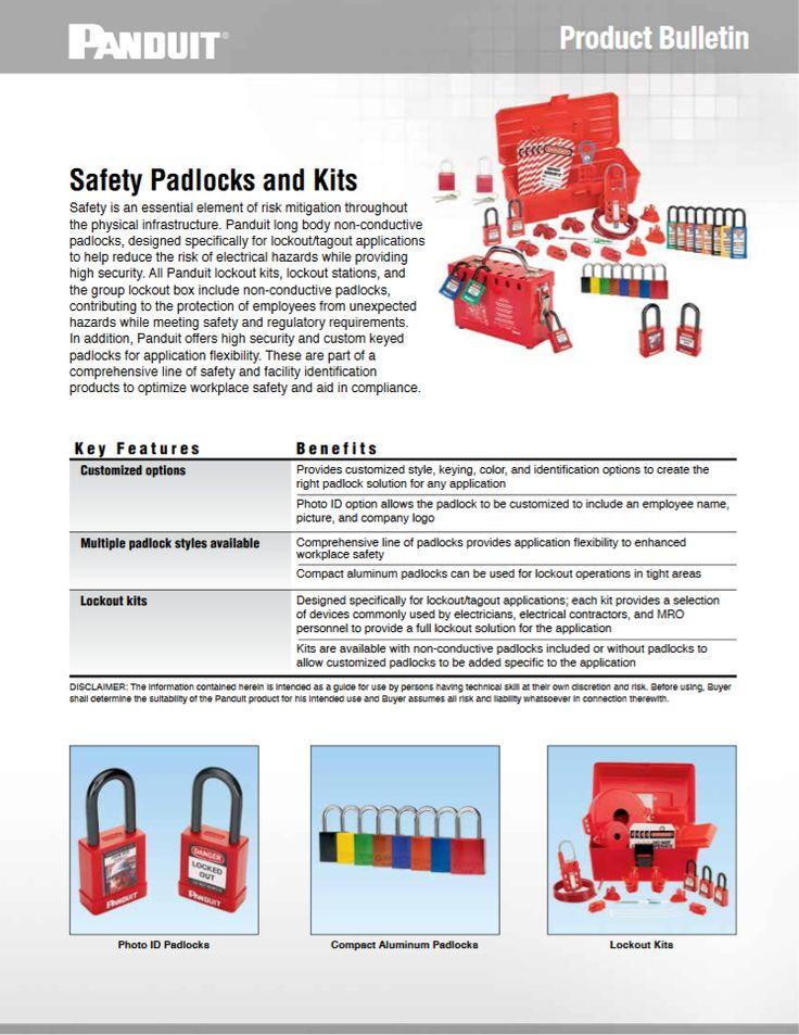 "Panduit Safety Padlocks and Kits ""SFCB05--WW-ENG"" 09.2016 http://www.panduit.com/ccurl/932/83/safety-padlocks-lockout-kits-sfcb05.pdf"