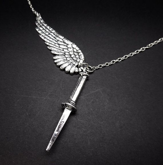 Supernatural Angel Wing and Blade Necklace sold by StarLyte Jewelry on Etsy