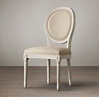"""Features a linear form, nuanced carving and scrollwork, and tapering columnar legs Hand-carved oak frame and hand-turned legs Generously padded seat Stain-resistant linen makes chair eminently practical Distressed white oak finish DIMENSIONS Side Chair: seat, 20""""H; 20""""W x 24""""D x 40""""H overall; 26 lbs. Armchair: seat, 20""""H; arm, 29""""H; 23""""W x 24""""D x 40""""H overall; 37 lbs. $180"""