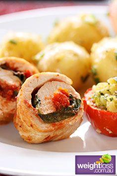 Healthy Dinner Recipes: Cartwheel of Chicken. #HealthyRecipes #DietRecipes #WeightlossRecipes weightloss.com.au