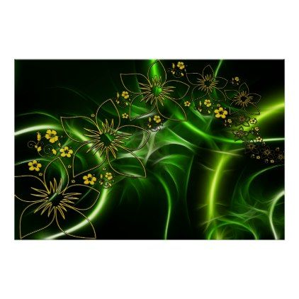Flora entwine fractal abstract poster - traditional gift idea diy unique