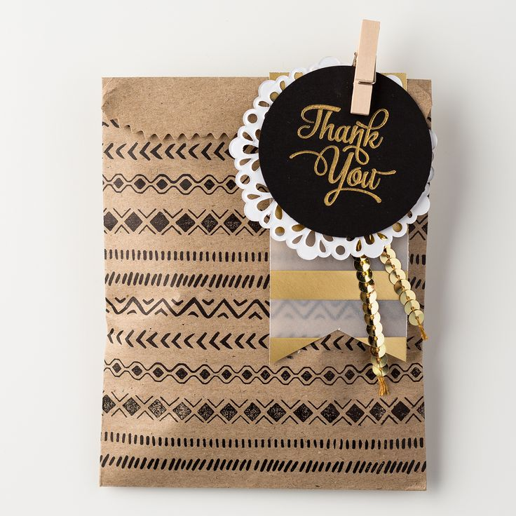 We love the look of black on kraft with gold accents on this kraft gift bag. Bohemian Borders is such a fun set to create all kinds of fun patterns.