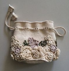 Bag small handmade Irish lace. Crochet, decorated with flowers. Style boho, retro