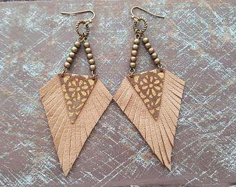 Leather earrings. Native earrings. Tribal earrings. Boho earrings. Bohemian earrings. Bronze earrings. Brown suede earrings. Fringe earrings