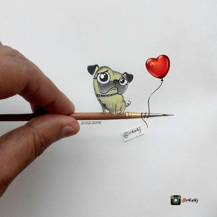 Art of Drawing — Aww! Such a cute pug ! Minature drawing by @r4x4j...