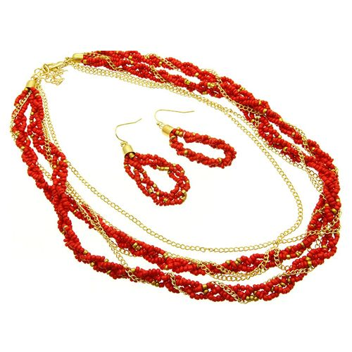 Punakultainen setti Punaista helmeä ja kullanväristä ketjua. Kaulakoru sekä korvakorut. Pientä punaista helmeä ja ohutta kultaketjua. Pituus n. 40 cm + säätöketju n. 8cm. - See more at: http://somemore.fi/tuotteet.html?id=16/465#sthash.N2Z9yKvl.dpuf