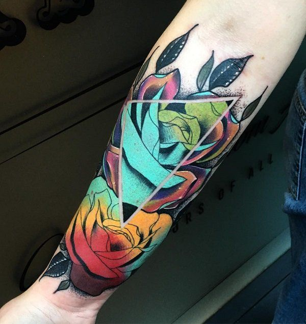Colorful rose forearm tattoo - 110  Awesome Forearm Tattoos  <3 <3