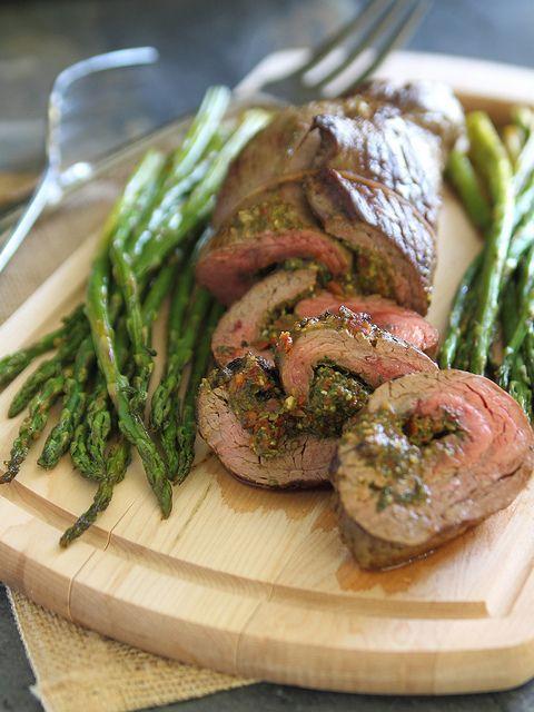 Sun-Dried Tomato Pesto Stuffed Flank Steak | runningtothekitchen.com by Runningtothekitchen, via Flickr
