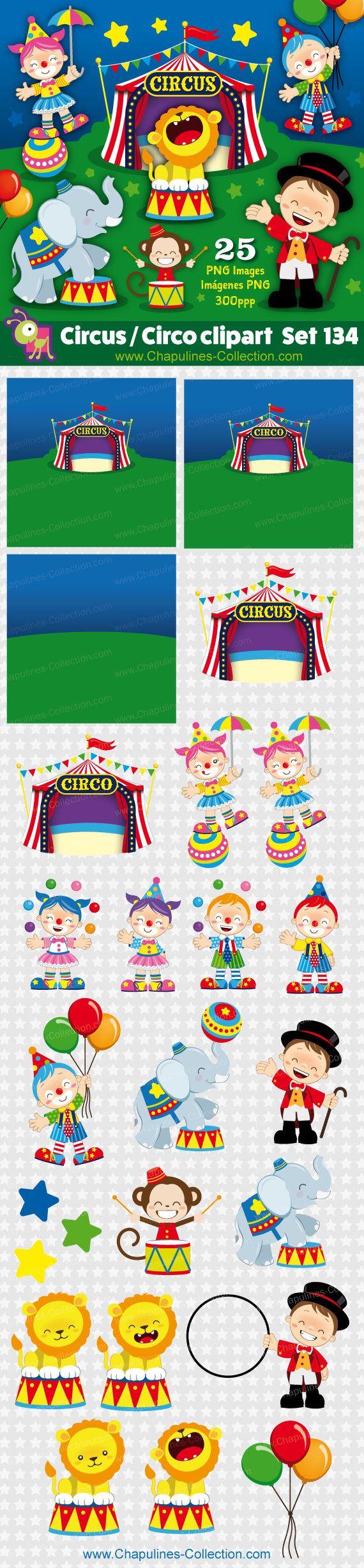 Circus clipart clown elephant monkey lion balloons