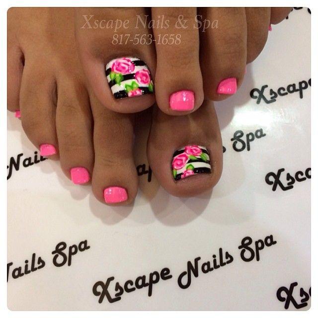 Flower toe nails... @xscapenails