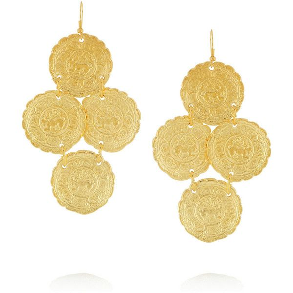Kenneth Jay Lane Embossed 22-karat gold-plated earrings ($70) ❤ liked on Polyvore