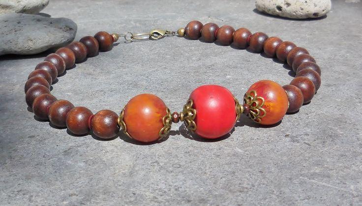 Tribal Statement Necklace, Boho Chic Jewelry, Chunky Bead Necklace, African Fashion Ethnic Jewelry Resin Jewelry, Orange Brown Wood Necklace by MacchiatoJewelry on Etsy https://www.etsy.com/listing/481459899/tribal-statement-necklace-boho-chic