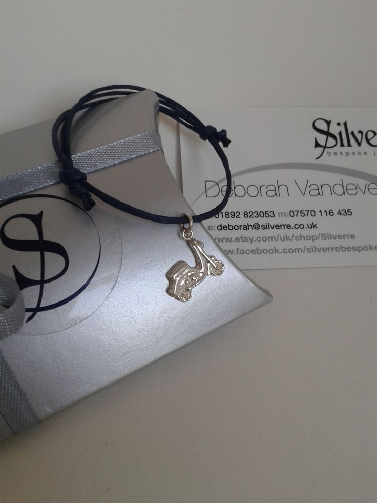 Solid Silver Vespa / Moped / Bike Charm, Cotton Adjustable Silver Charm Bracelet, Solid Silver Handmade Charm on Coloured Cord, UK Seller. by Silverre on Etsy
